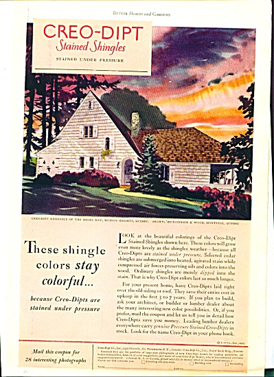 1929 CREO-DIPT Stained SHINGLES AD ARTWORK (Image1)