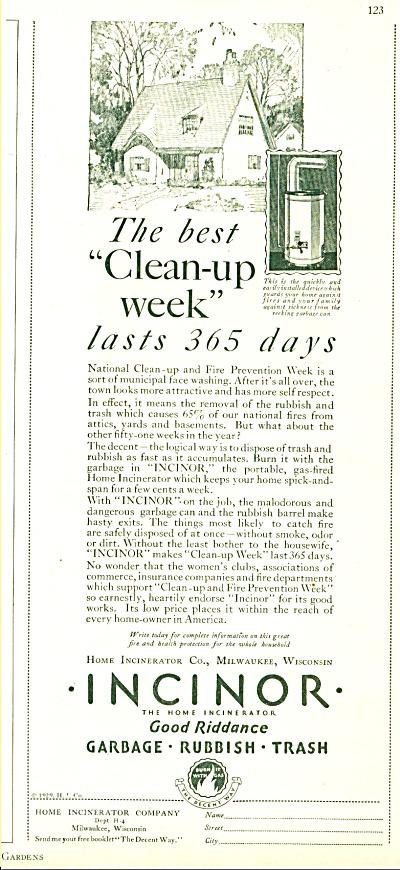 1929 INCINOR Food Riddance RUBBISH AD (Image1)
