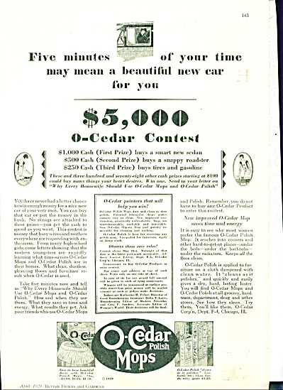 1929 O-Cedar Polish Mops Ad WIN A CAR (Image1)