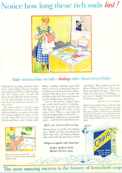 1929 P & G Chipso Soap Ad ARTWORK + GE Kitche (Image1)