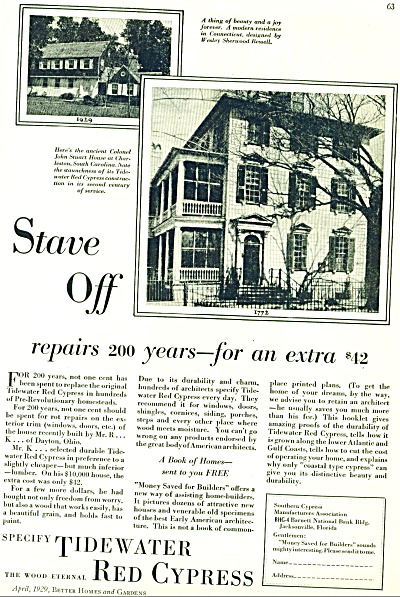 1929 Tidewater Red Cypress BUILDERS AD (Image1)