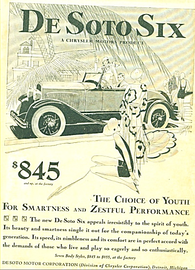 1929 DeSOTO SIX Car AD CHRYSLER DODGE (Image1)