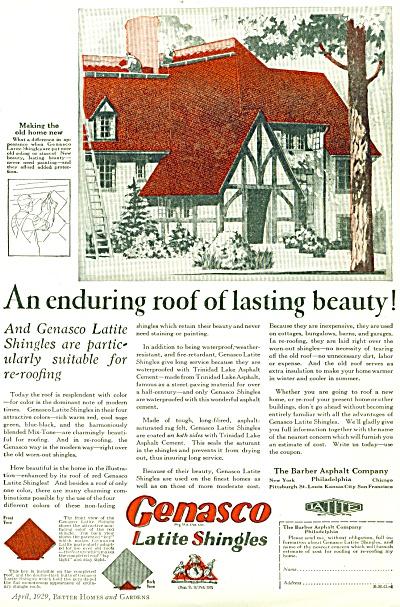 1929 Genasco LATITE Shingles Ad Artwork (Image1)