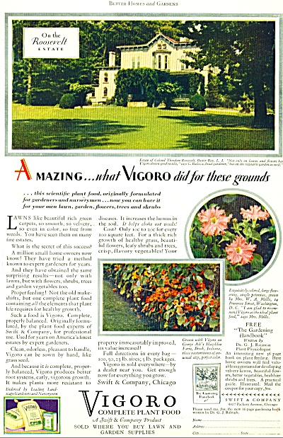 1929 VIGORO Plant Food ROOSEVELT ESTATE AD (Image1)