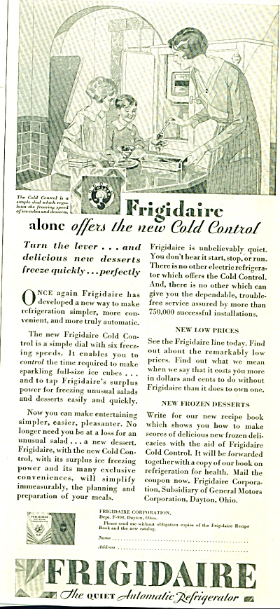 1929 Frigidaire Automatic Refrigerator AD ART (Image1)