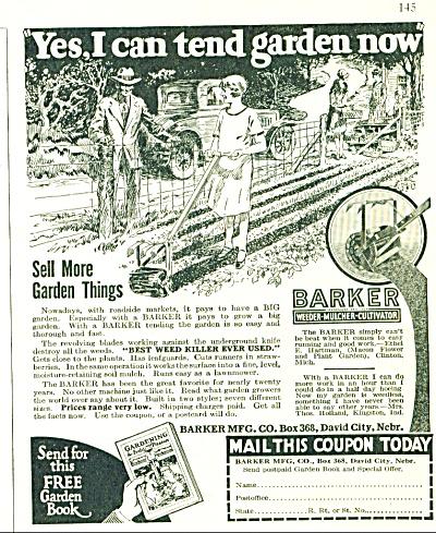 1929 Barker LAWN TOOLS Vintage Signed ART (Image1)