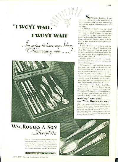 1929 Wm ROGERS SILVERPLATE AD Princess +++++ (Image1)