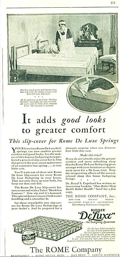 1929 ROME DeLUX BEDSPRING Vintage AD (Image1)