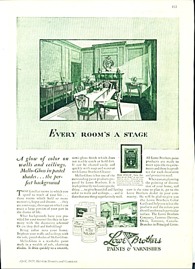 1929 LOWE Bros PAINT VARNISH AD DECOR (Image1)