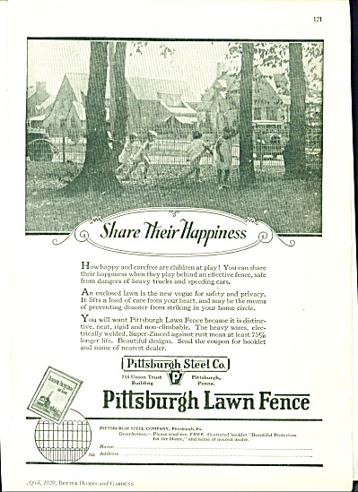 Pittsburgh STEEL Lawn Fence Ad - 1929 (Image1)