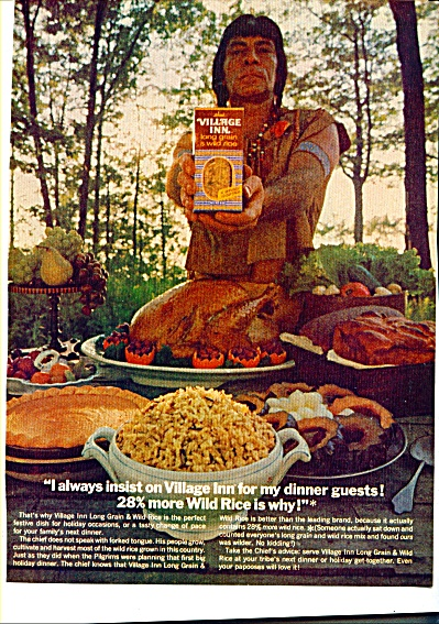 1969 Village Inn Wild Rice Ad INDIAN CHIEF (Image1)