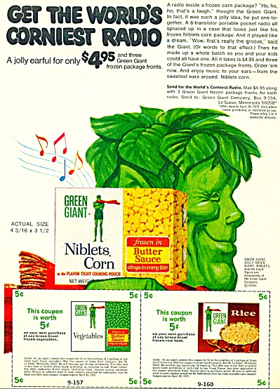 1969 JOLLY Green Giant Niblets RADIO PROMO AD (Image1)