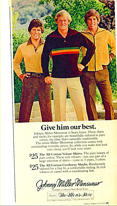 1977 Johnny Miller Golfer Menswear Ad