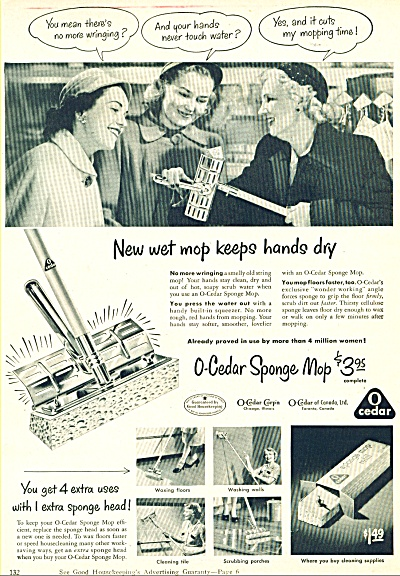 1950's O-Cedar Sponge Mop AD FASHION WOMEN (Image1)