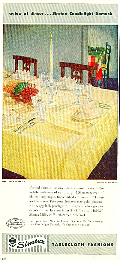 1950s Simtex TableCloth CANDLELIGHT DAMASK Ad (Image1)