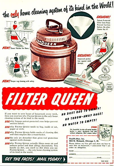 1951 Filter Queen HOME VACUUM Cleaning AD (Image1)