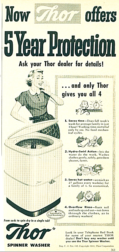 1951 Thor SPINNER Washer Washing Machine AD (Image1)