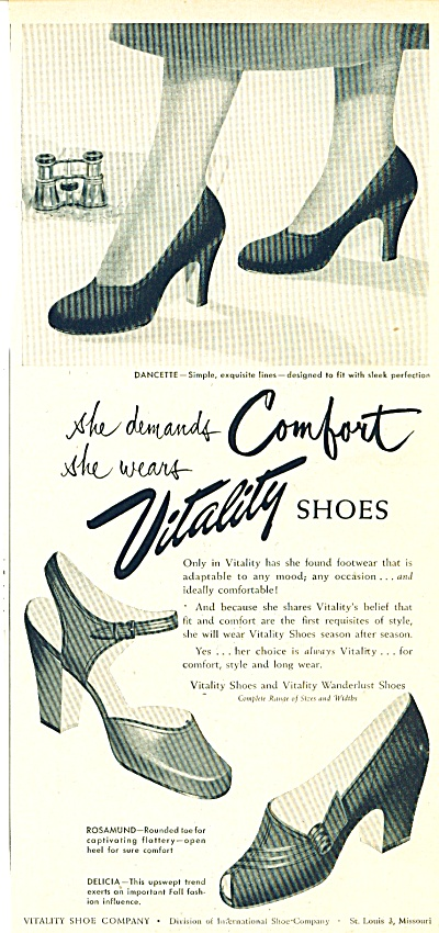 1950's Women's Shoe Vitality Shoes Ad