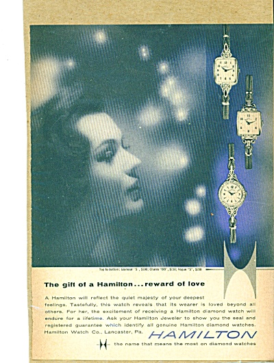 1959 Hamilton Watch Ad Glamour Charm Vogue