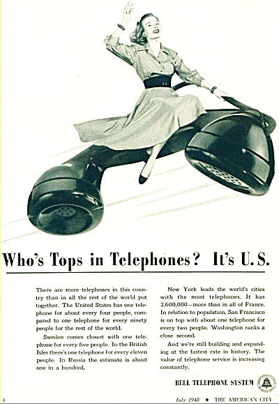 1948 Bell Telephone System AD TOPS in PHONES (Image1)