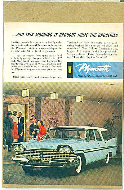 1959 Plymouth GOLDEN COMMANDO 395 Car AD (Image1)