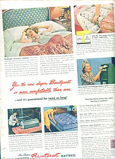 1939 Simmons Beautyrest Ad - Hellmann's AD (Image1)