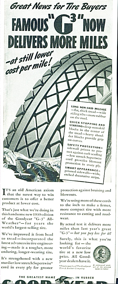 1939 GOODYEAR TIRE AD G3 Vintage TIRES (Image1)