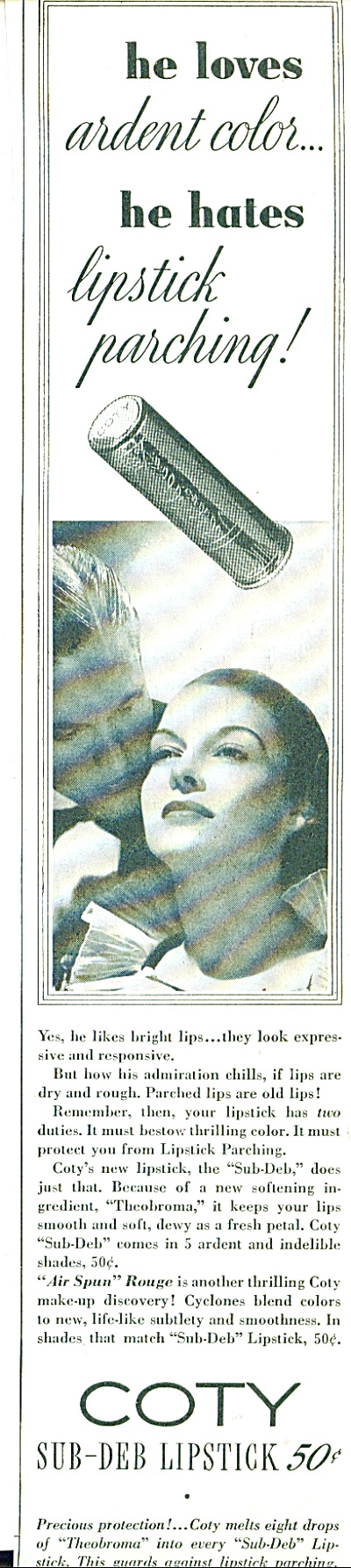 1937 Coty SUB DEB LIPSTICK AD ~ HE LOVES LIPS (Image1)