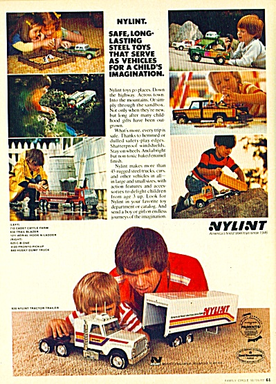 1977 NYLINT TOY AD Cattle Farm Tractor Traile (Image1)
