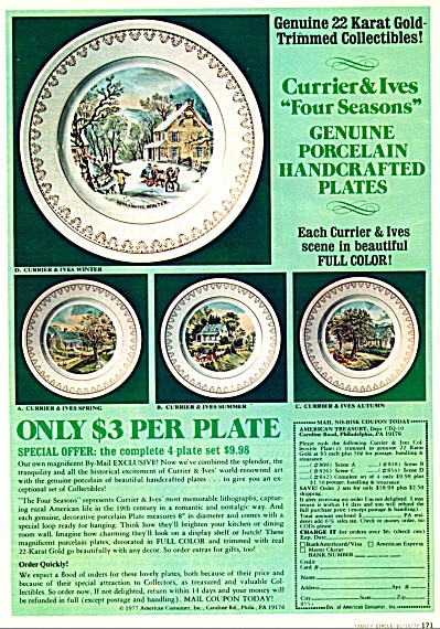 Currier & Ives FOUR SEASONS Dinner Plates AD (Image1)