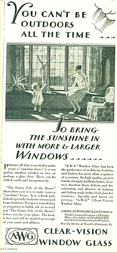 1928 A W G Window Glass AD Vintage PHOTO ART (Image1)