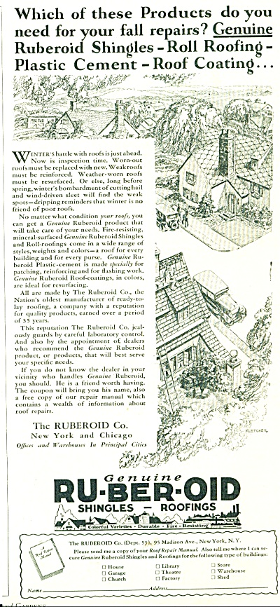 1928 RUBEROID Shingles Roof AD ARTWORK FLETCH (Image1)