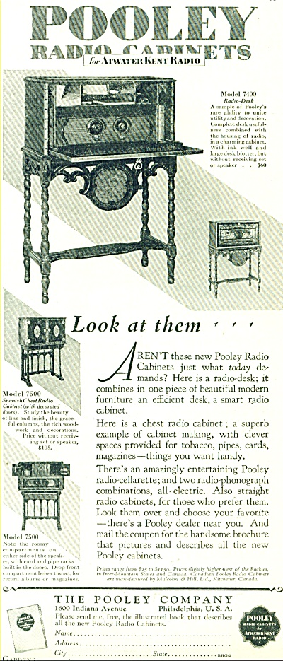 1928 ATWATER KENT POOLEY RADIO CABINET AD (Image1)