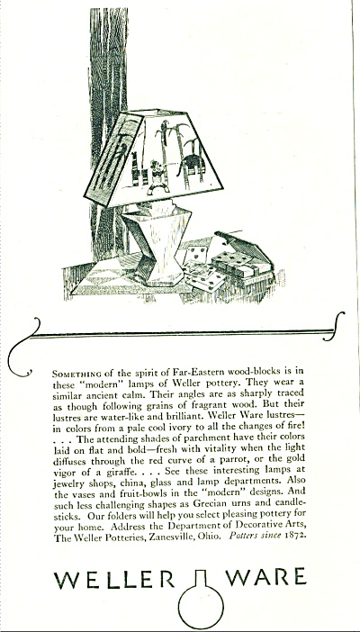 1928 Weller Ware ad Pottery LAMP EASTERN AD (Image1)