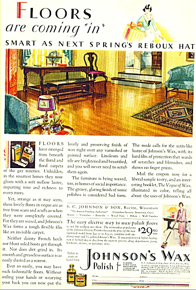 1928 Johnson's  Wax ad STUNNING ARTWORK SIP (Image1)