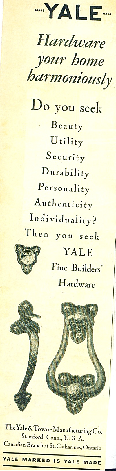 1928 YALE Door Lock Hardware AD (Image1)