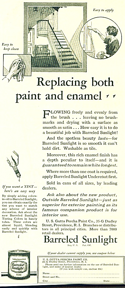 1928 BARRELED SUNLIGHT AD GUTTA PERCHA PAINT (Image1)