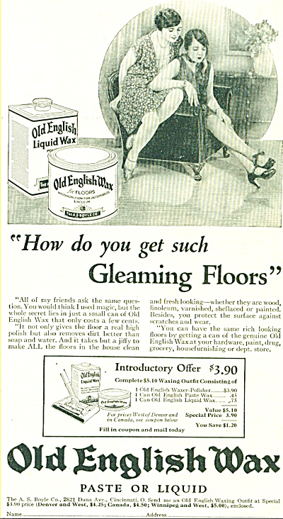 1928 OLD ENGLISH WAX - FLAPPER GIRL AD (Image1)