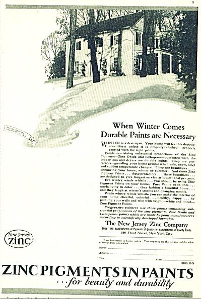 1928 ZINC Pigments PAINT AD Vintage Home (Image1)