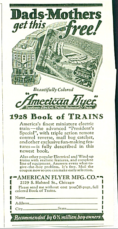 1928 American Flyer Book Of Trains Ad