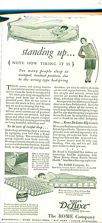 1928 ROME Deluxe BEDSPRINGS AD Vintage (Image1)