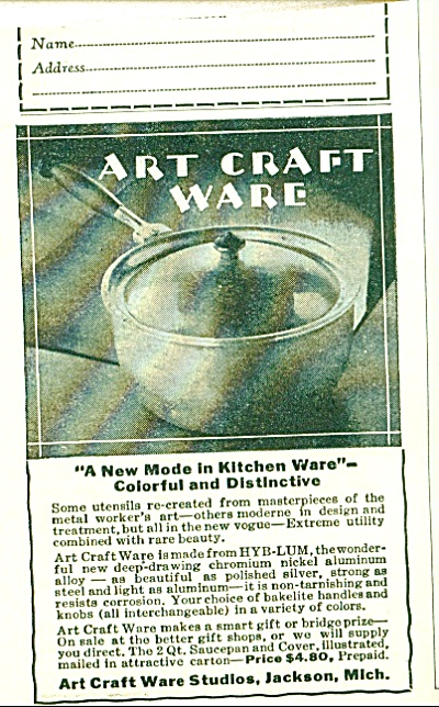 1928 ART CRAFT WARE HYB-LUM Nickle AD Cookwar (Image1)
