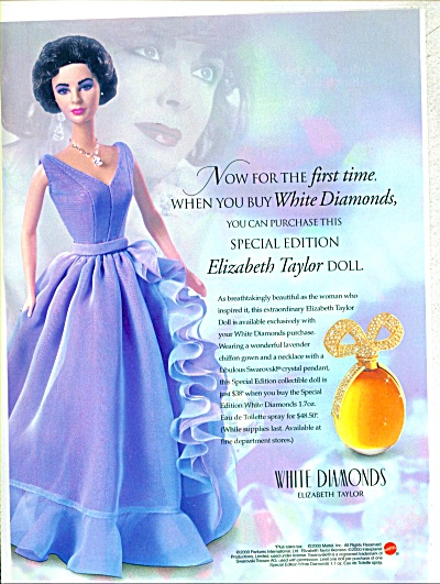 Elizabeth Taylor White DIAMONDS DOLL AD (Image1)