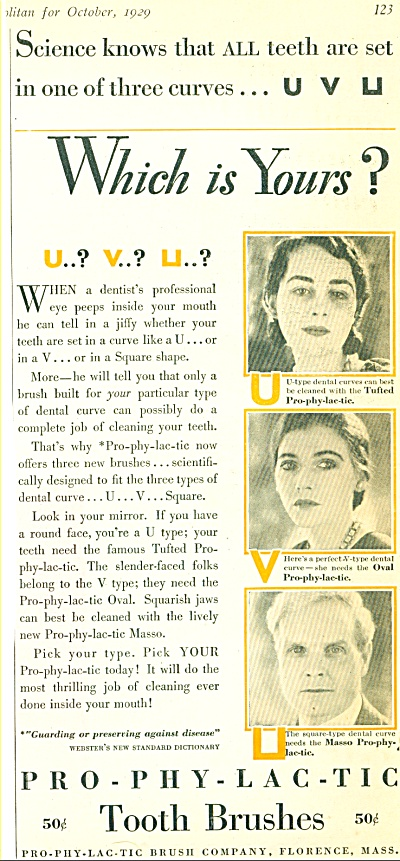 1929 PRO-PHY-LAC-TIC Toothbrush AD Vintage (Image1)