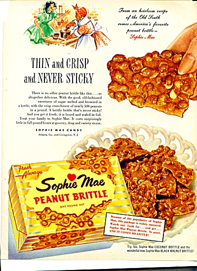 1954 SOPHIE MAE Peanut BRITTLE OLD SOUTH AD (Image1)