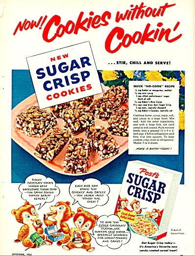 1954 POST Sugar Crisp Cereal AD Cookie Recip (Image1)