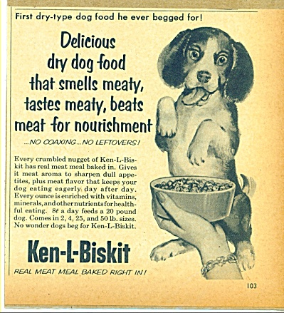 1955 KEN-L-BISKIT Ken-L-Ration DOG AD CUTE BE (Image1)