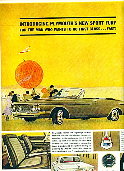 1964 PLYMOUTH Sport FURY V-8 CAR AD Commando (Image1)