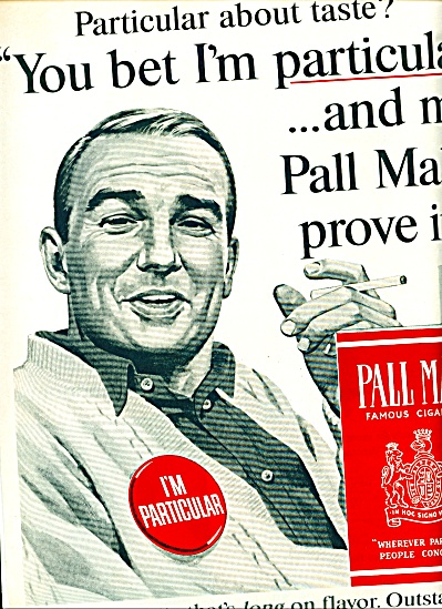 1964 Pall Mall I'm Particular Cigarette Ad