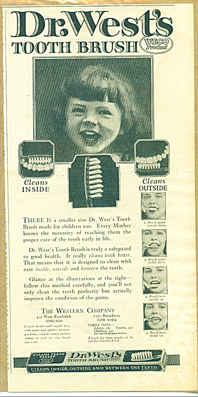 1922 Dr. West's Tooth Brush YOUNG GIRL AD WEC (Image1)